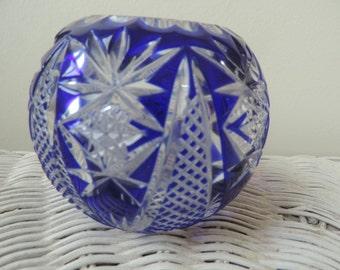 Cobal Blue Round Lead  Crystal Vase Vintage German