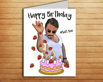 Salt Bae Birthday Card Printable Funny For Boyfriend Gift Or Girlfriend Trendy Internet Memes Tv Shows Sprinkle Sexy Chef