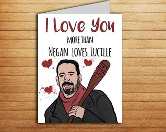 The Walking Dead Anniversary Card Printable Negan And Lucille Funny Zombie Love Horror For Boyfriend Husband Dad Sister Friend