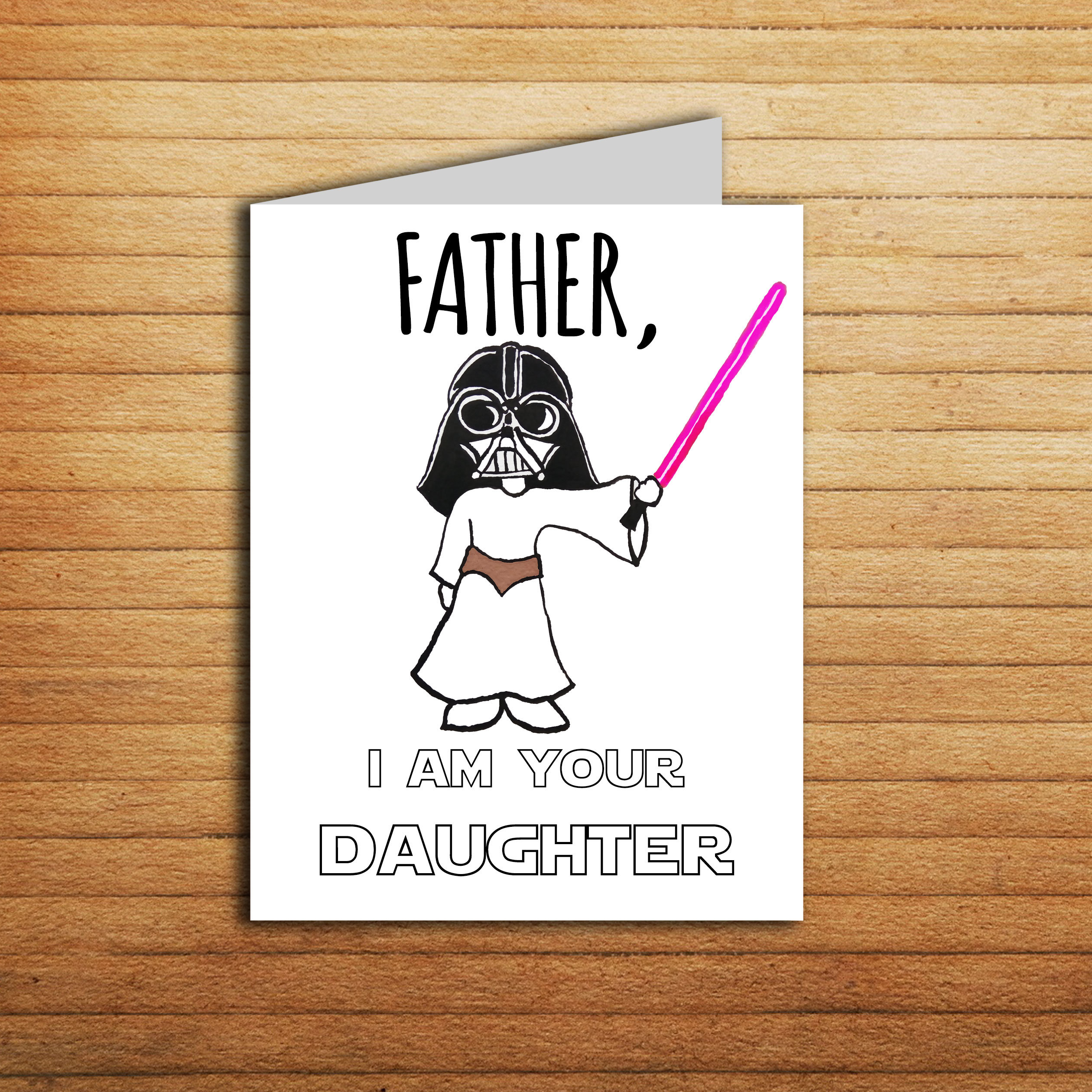 Star Wars Card Fathers Day For Dad Gift From Daughter