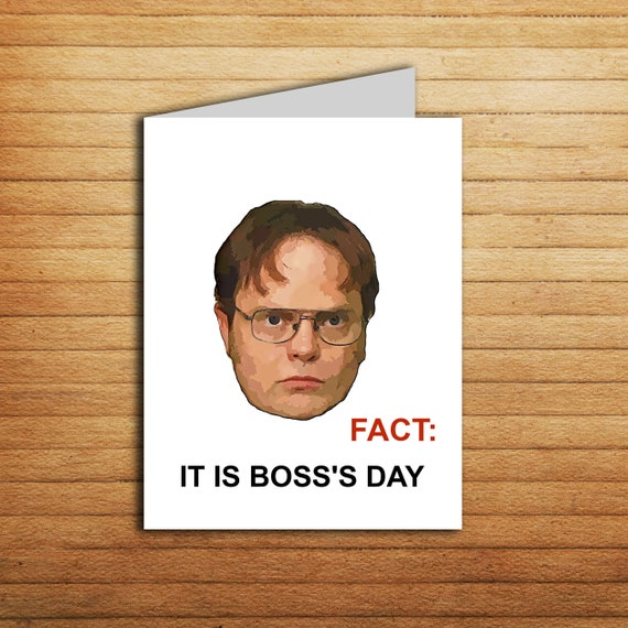 The Office Boss Day Card Printable Funny Bosss Day Gift Etsy