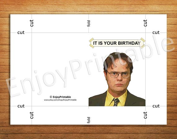 The Office Birthday Card Office Tv Show Cards Printable It Is Etsy