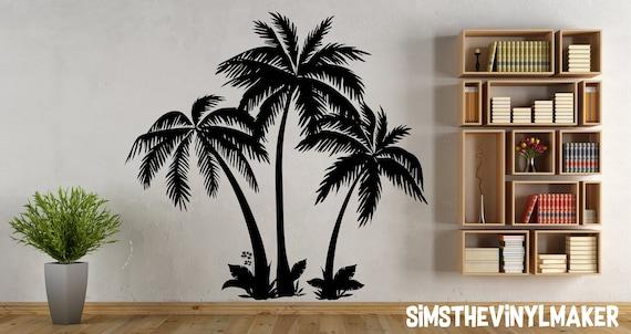 Palm Tree Wall Decal 3 Palm Trees Vinyl Sticker Palm Tree Etsy