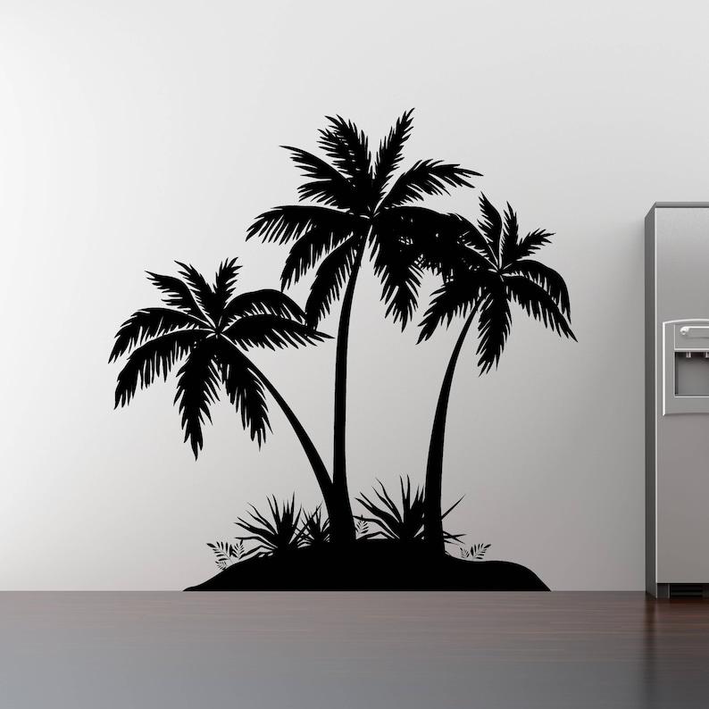Palm Tree Island: Island Palm Tree Wall Decal 3 Palm Trees Vinyl Sticker