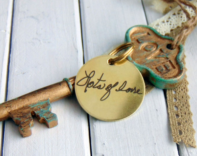 Handwritten Brass Keychain- your own handwriting, Circle Key Chain, Stainless Steel, Brass, personalized custom keychains, handwritten gifts