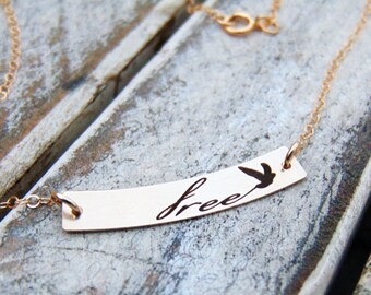 Free Bird Swing Bar Pendant -Petite Swing Necklace-14/20 Yellow Gold, Rose Gold Filled, or Sterling Silver-Perfect For Layering- Personalize