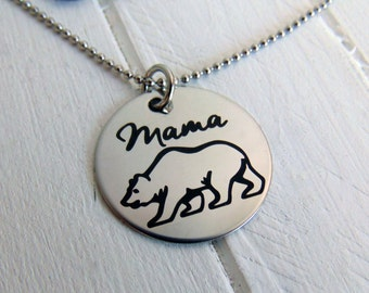 "Mama Bear Necklace - Customized Back option - Laser Engraved - 1"" pendant - Gift for Her, New Mom Gift- Stainless Steel, No Tarnish"