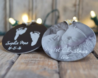 "My First Christmas Photo Ornament - Personalized 2"" Circle Ornament - Add Photos, Handwriting, Custom Text -Design Your Own Christmas Gifts"