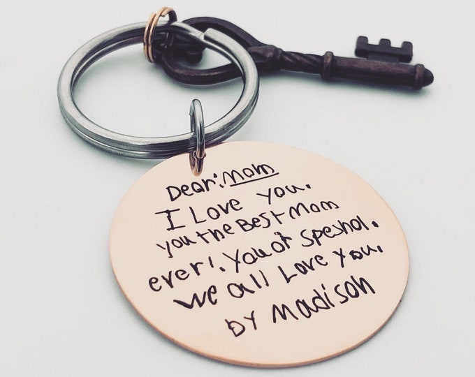 """Featured listing image: Child's Handwriting Key Chain for Mom -Rose Gold, Custom Front/Back Engraving Options _Your Handwriting or text_ 1.5"""" Circle -2021 Mom Gift"""