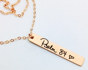 Rose Gold Handwritten Vertical Bar Necklace - NO TARNISH Rose Gold Titanium Plated Stainless Steel -Your Actual Handwriting or Font Text