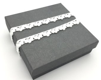 Gift Box, Gift Wrap Upgrade - White Cotton Lace Wrapped, Gray Box with Lid