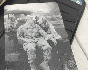 Deployment Photo Wallet Card -Love Note -Handwriting or Font Back Engraving Options- Metal Wallet Insert -Laser Engraved To Last For Him/Her