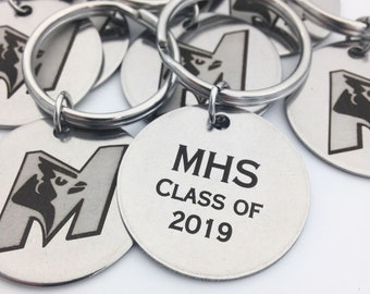 10 Piece Class of 2019 Key Chains- Quantity Discount- High School Senior Gift, Graduation, Team Gifts, School Fundraiser Items