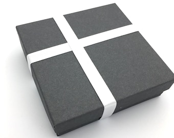 Gift Box, Gift Wrap Upgrade - Satin White Cross Ribbon, Gray Box with Lid
