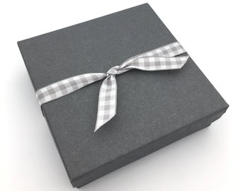 Gift Box, Gift Wrap Upgrade- Gingham Gray & White Ribbon, Gray Box with Lid