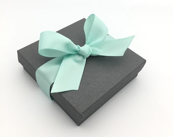 Gift Box, Gift Wrap Upgrade - Mint Ribbon, Gray Box with Lid