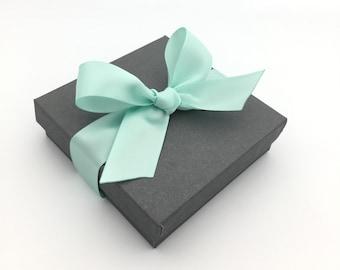 Gift Box, Gift Wrap Upgrade - Mint Ribbon, Gray Box with Lid