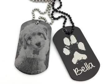 "Pawprint Pet Tag - Custom Photo, Text, & Handwriting Options - Black Aluminum Dog Tag Necklace - Your Pets Actual Paw Print- ""Paw""fect Gifts"