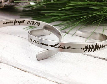 "Paradise Stainless Steel Cuff Bracelet - .25"" x 6"" Adjustable Cuff - never forget 11/8/18 inside engraving included - Remembrance Gift"
