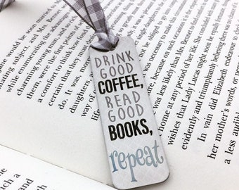 Coffee, Books, Repeat...Engraved Bookmark -Add Personalized Back Engraving- Your Handwriting or Font Options- Book Worm, Gifts For Her