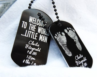 Baby Footprints Dog Tag Engraved- black photo dog tag-Welcome to the world, birth announcement, baby keepsake, gift for new parents