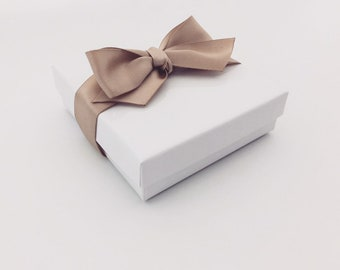 Gift Box, Gift Wrap Upgrade - Toffee Ribbon, White Box with Lid, Holiday Gifts -NOT SOLD SEPARATELY-