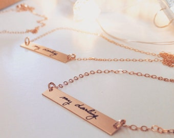 Rose Gold Bar Necklace - Personalized Text or ACTUAL HANDWRITING, Sterling Silver Gold or Rose Gold - Layering -Jewelry For Her Perfect Gift