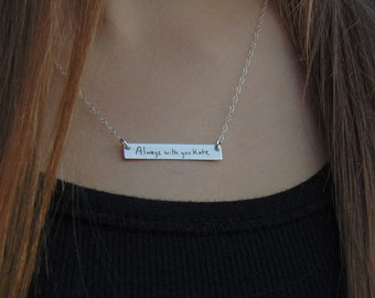 Handwritten Horizontal Bar Necklace - YOUR HANDWRITTEN MESSAGE - or text, Sterling Silver, Gold or Rose Gold -Father Daughter - for her