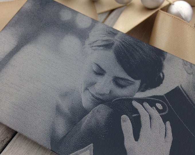 Featured listing image: Engraved Photo Wallet Card - Add Back Engraving Too: Your Handwriting, or choose a Font- Wallet Insert - Laser Engraved To Last A Lifetime