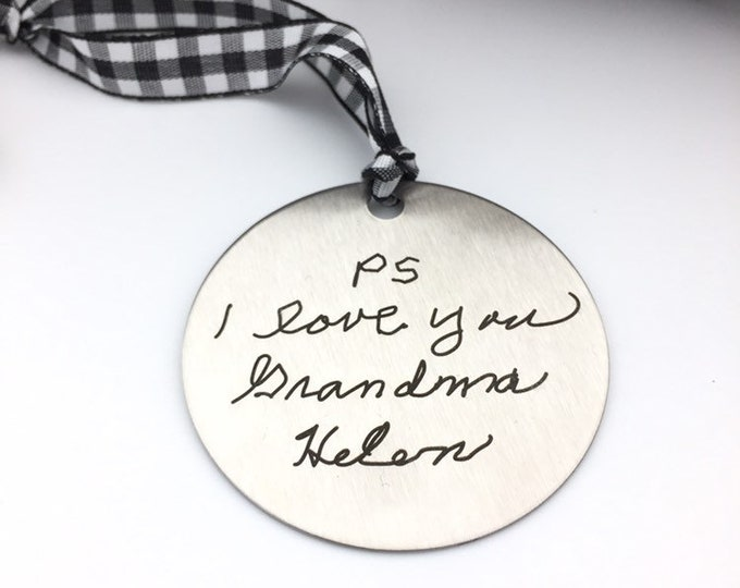 Featured listing image: Handwritten Engraved Ornament -Two Inch Stainless Steel Circle- Use Your Handwriting, or Custom Text or Both