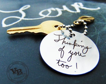 Handwritten Keychain- Use your own handwriting, personalized gifts for Christmas, Stainless Steel, Brass, handwritten gifts, gifts for him