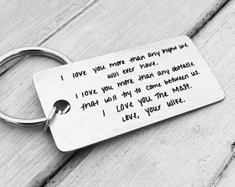 Your Handwritten Keychain- Your Design - Handwriting & Font Options - Personalized, Rectangle, Stainless Steel, Laser engraved Key Chain