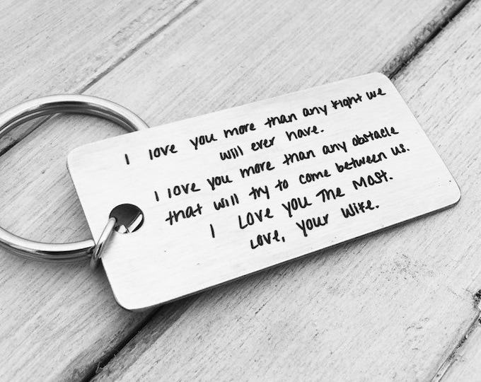 Featured listing image: Your Handwritten Keychain- Your Design - Handwriting & Font Options - Personalized, Rectangle, Stainless Steel, Laser engraved Key Chain