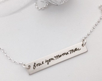 Your Handwriting Bar Necklace - Personalized For Her -Sterling Silver, 14k Gold or Rose Gold Filled- Layering Jewelry - Custom Gifts for Her
