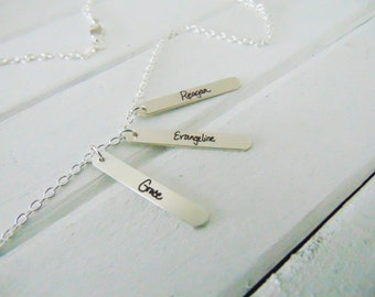 Triple Silver Vertical Bar - YOUR HANDWRITING - or text, Sterling Silver Engraved Necklace -Jewelry For Her - Gift for Mom - Actual Writing