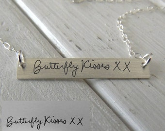 Handwritten Horizontal Bar Necklace - Actual Handwriting or text, Sterling Silver, Gold or Rose Gold - Perfect For Layering -Jewelry For Her