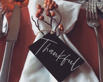 Custom Thankful Place Card, Holiday Guest Favors & Ornaments - Personalized w/your Photo, Handwriting, or Font Text -Engraved Metal Keepsake