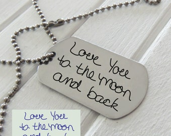 Your Handwriting Steel Dog Tag - Plus Custom Text Option,  Hand crafted fingerprint gifts,  Reveal Party - Anniversary Gift