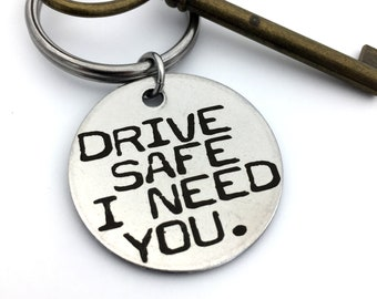 "Drive Safe Key Chain _ Stainless Steel or Brass _Custom Back Engraving Options- Your Handwriting, text, or fingerprints. 1.25"" Circle"