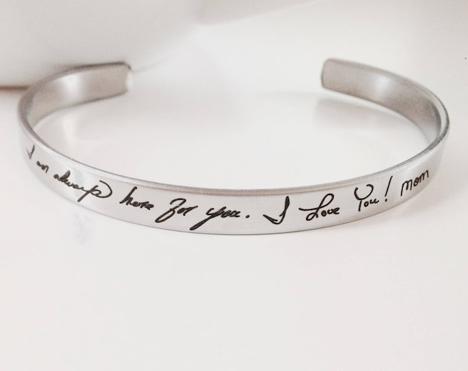 "Featured listing image: Handwritten Stainless Steel Cuff Bracelet - .25"" x 6"" Adjustable Cuff - Optional Inside and/or Outside Custom Engraving Options"