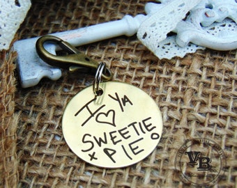 Handwritten Keychain- Use your own handwriting, Circle Key Chain, Stainless Steel, Brass, personalize, custom keychains, handwritten gifts,