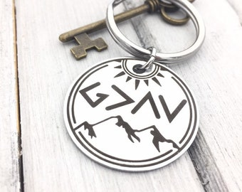 God Is Greater Than The Highs & Lows Keychain- Personalization Options - Use your own handwriting, or font -Back Engraving. Christian Gifts
