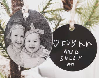 Personalized Photo Ornament -Two Inch Circle, Engraved Metal Christmas Ornaments - Use Your Photo, Handwriting, or Custom Text - 2020 Gifts