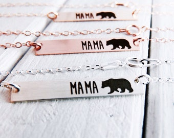 Mama Bear Bar Necklace - Handmade Custom Necklace - Personalize back engraving -Baby Shower Gift For Mom- Sterling Silver, Gold or Rose Gold