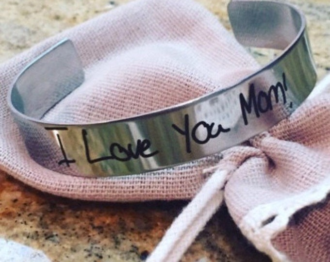 Stackable Stainless Cuff Bracelet- YOUR HANDWRITING - your text, your design,  - Perfect For Layering -Jewelry For Her