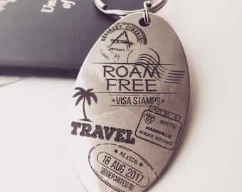 TRAVEL Passport Key Chain- Personalized Back Side Options -Your Handwriting or Font- Roadtrip 2020 - Spring Break, Group gifts, Souvenirs