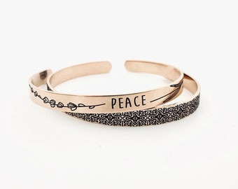 "PEACE & Lavender ~ Rose Gold Steel Cuff Bracelet ~ .25"" x 6"" - Optional Inside and/or Outside Custom Engraving Options For Her- Mom Gifts"