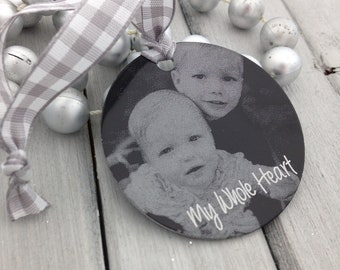 Personalized Photo Ornament -Two Inch Circle, Engraved Metal Christmas Ornament- Use Your Photo, Handwriting, or Custom Text - 2019 Holiday