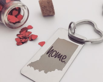 home. Keychain- Your Home State - Personalized Back Engraving Options- Your Handwriting or Font - Rectangle, Steel Key Chain, Heart Key Ring