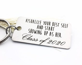 2021 Graduate Keepsake Gift- Your Design - Handwriting & Font Options - Personalized, Rectangle, Stainless Steel, Engraved Key Chain